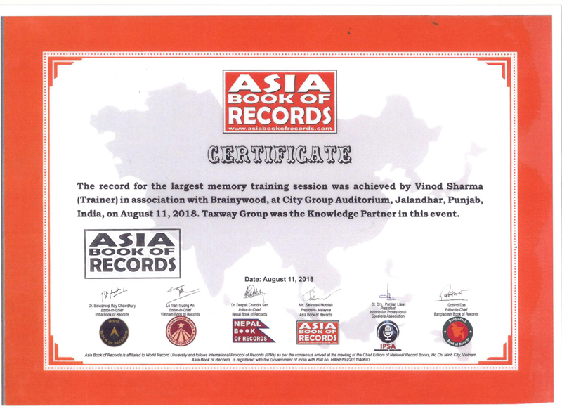 Asia Book Of Records Certificate