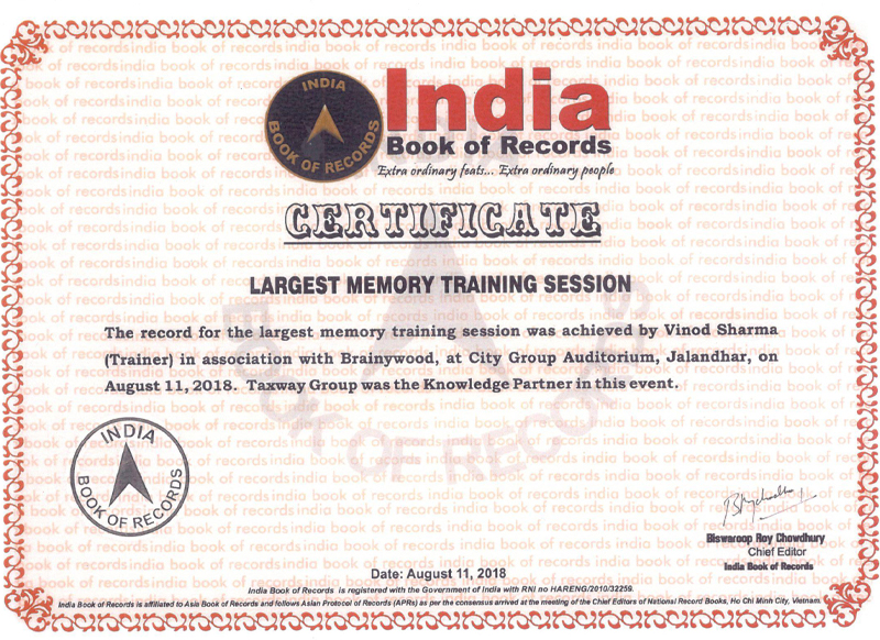 India Book Of Records Largest Memory Training Session