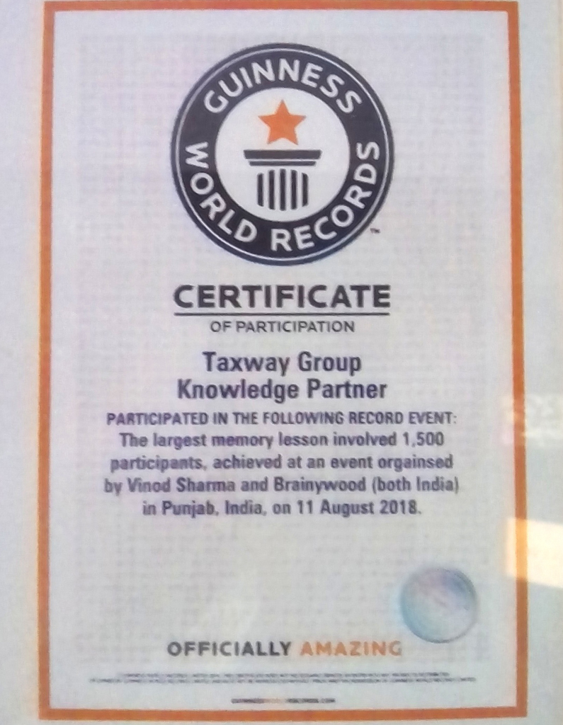 Guinness World Records Certificate Of Participation Taxway Group Knowledge Partner